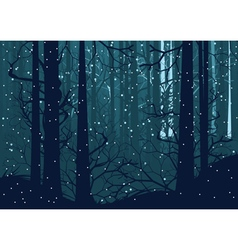 Snowy winter forest vector