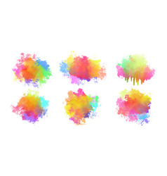 Abstract set colorful watercolor splatters vector