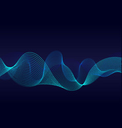 abstract wavy particles surface on dark blue vector image