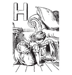 alphabet h hid it vintage vector image