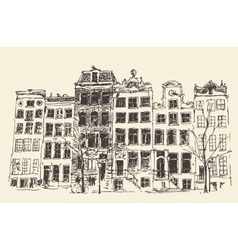 Amsterdam Vintage Engraved Hand Drawn vector
