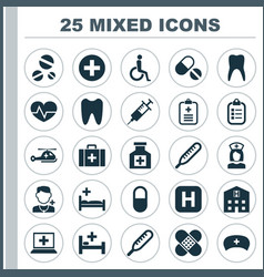 Antibiotic icons set collection database vector