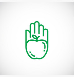 Apple silhouette incorporated in a hand palm icon vector