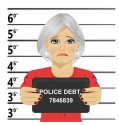Arrested senior woman posing for mugshot vector image