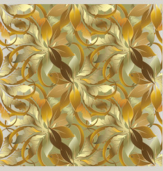 baroque style leafy gold 3d seamless pattern vector image