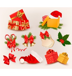 big set christmas icons and objects vector image