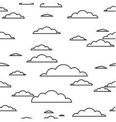 black contour cloud seamless pattern on white vector image vector image