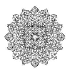 black indian mandala on white background vector image