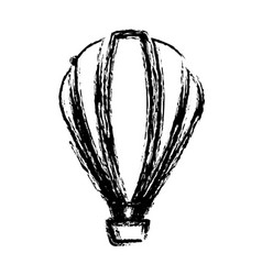Blurred sketch contour hot air balloon icon vector