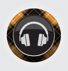 button with orange black tartan - headphones icon vector image