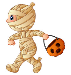 cartoon little mummy with pumpkin basket vector image