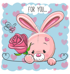 Cartoon rabbit with flower vector