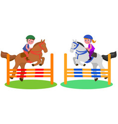 Children horse competition vector