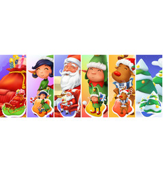 christmas and new year santa claus sleigh elves vector image