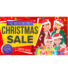 christmas sale banner big christmas sale vector image