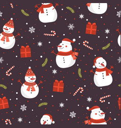 christmas seamless pattern with snowman on brown vector image