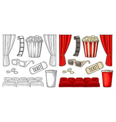 Cinema set engraving vintage black vector