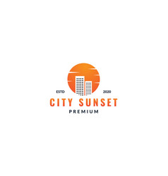 City building or apartment with sunset circle vector