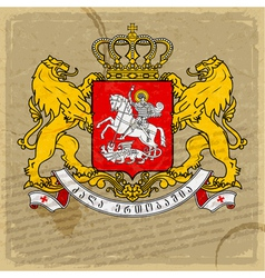 Coat of arms of Georgia on an old sheet of paper vector image