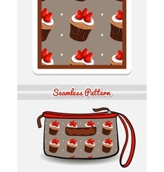 Cosmetic Bag Strawberry Cupcakes vector image