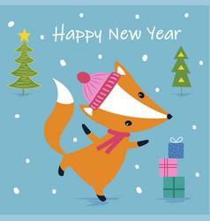 cute cartoon fox print vector image