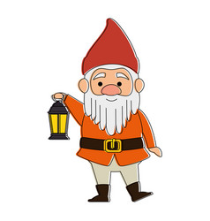 cute gnome with miner lamp character vector image