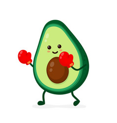 Cute smiling strong avocado fighting vector
