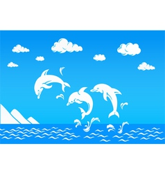 Dolphin in sea vector image