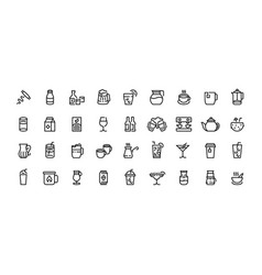 drinks line icons coffee tea and alcoholic vector image