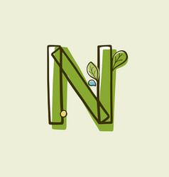 Eco style letter n logo hand-drawn with a marker vector
