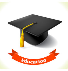 Education icon graduation hat vector