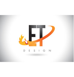 Et e t letter logo with fire flames design and vector