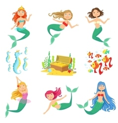 Fairy Tale Mermaids And Related Objects Set vector