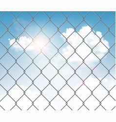 Fence made metal wire mesh with a blue sky vector