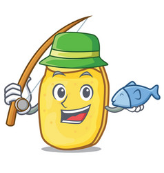 Fishing potato chips mascot cartoon vector