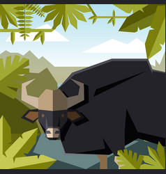 flat geometric jungle background with guar vector image