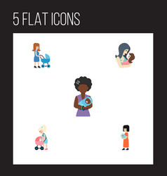 Flat icon mam set of mam mother baby and other vector