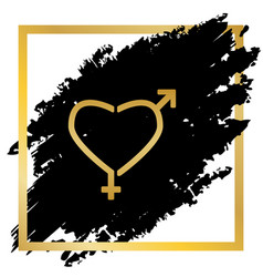 gender signs in heart shape golden icon vector image
