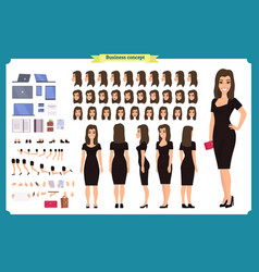 Girl in evening dress character creation set vector
