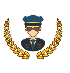 Gold police badge icon image vector
