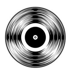 gramophone black vinyl lp record silhouette vector image