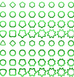 Green curved polygon shape icon collection vector