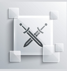 Grey crossed medieval sword icon isolated on grey vector