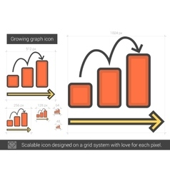 Growing graph line icon vector