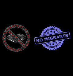 Grunge no migrants stamp and bright web network vector