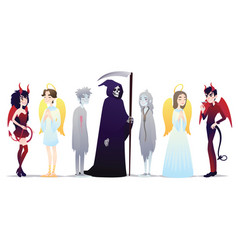 halloween characters in cartoon style vector image