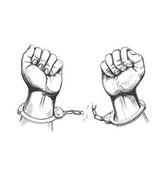 hands break chain handcuffs a symbol of vector image