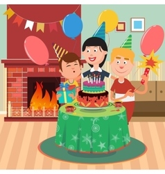 Happy Family Celebrating Birthday Party vector image