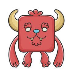 happy furry red square devil cartoon monster vector image