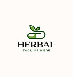 herbal capsule pills logo template vector image